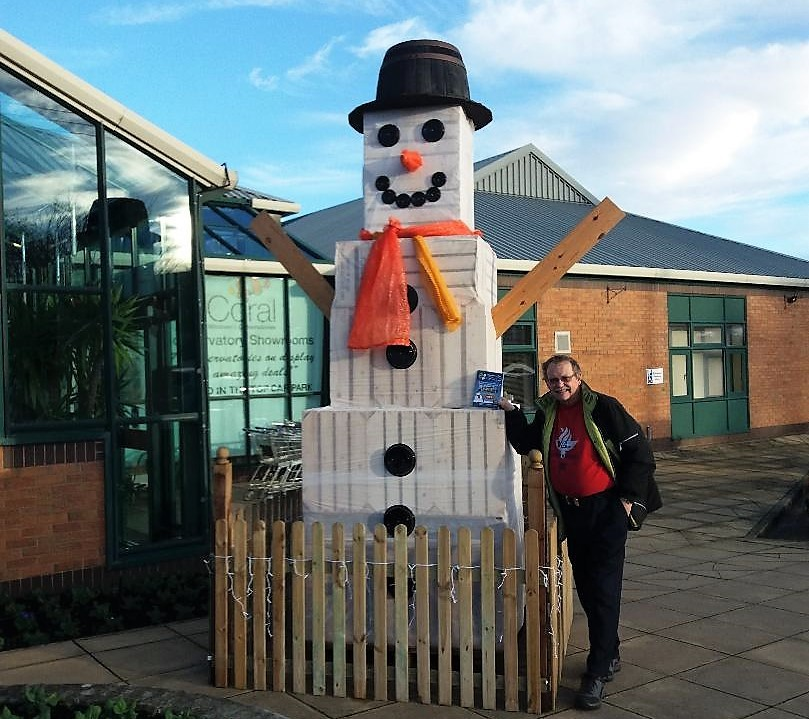 Otley Snowman Trail founder Nigel Francis with Stephen H Smith's Garden Centre's giant entry