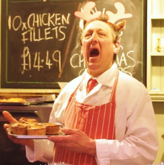 Martin Kay from JB Wilkinson & Sons butchers in full song for Otley's promotional Christmas film