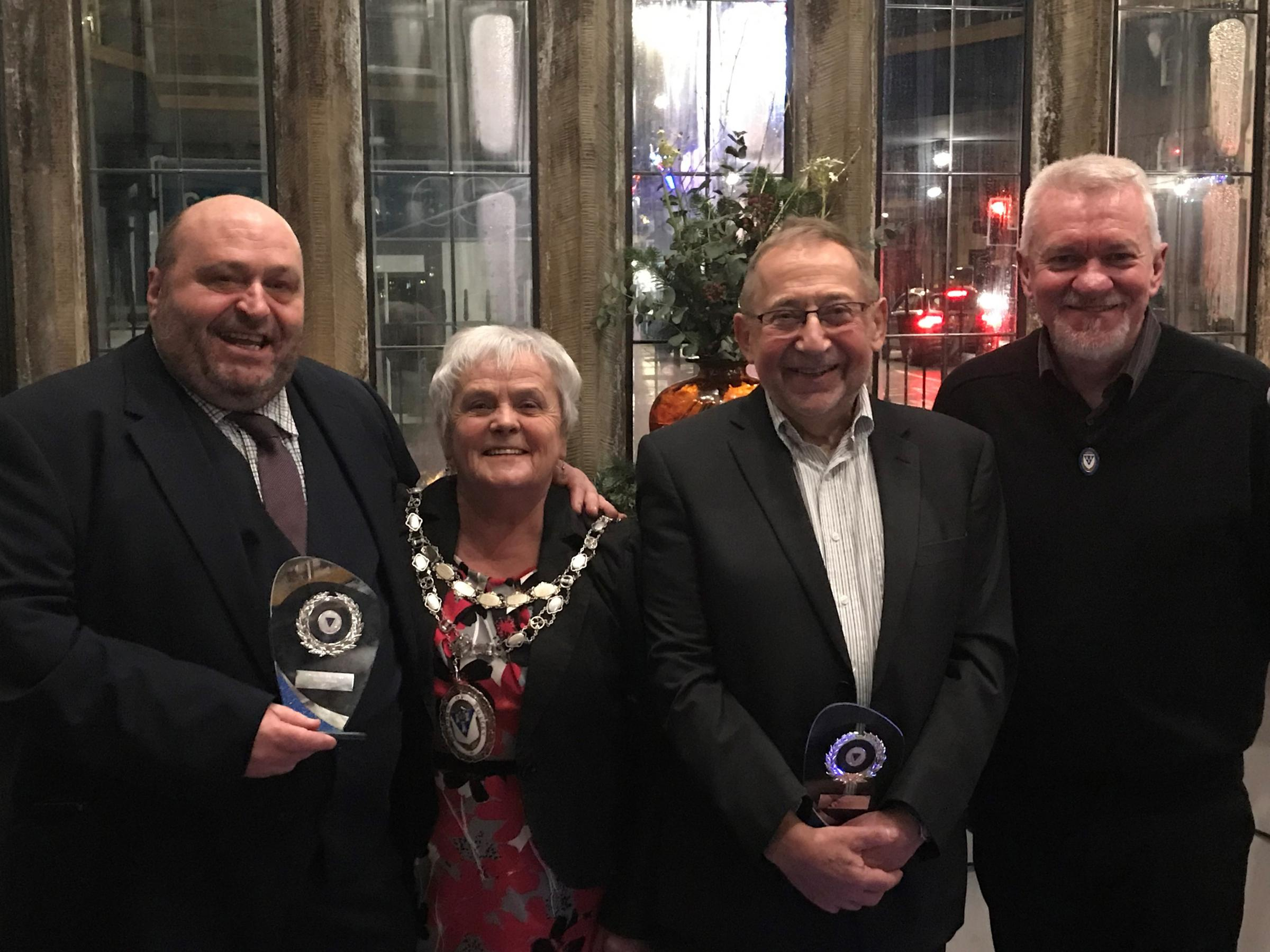 Otley Mayor Mary Vickers with Public Service award winners John Eveleigh and Lawrence Ross, and Councillor Ray Georgeson