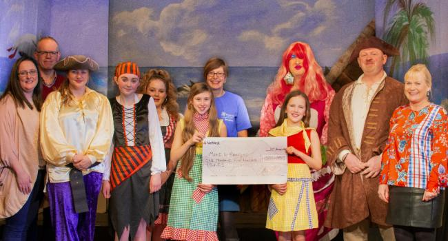 Addingham Pantomime Group takes time out of rehearsals to present their cheque. Pictured are: Charles Arrow-Smith, chairman; Charlene Hodgson, director; John Shaw, Dame; Chris Darcey, Long John Silver; Lucy Flesher, Jenny; Michelle Roberts, Jim; Molly Lit
