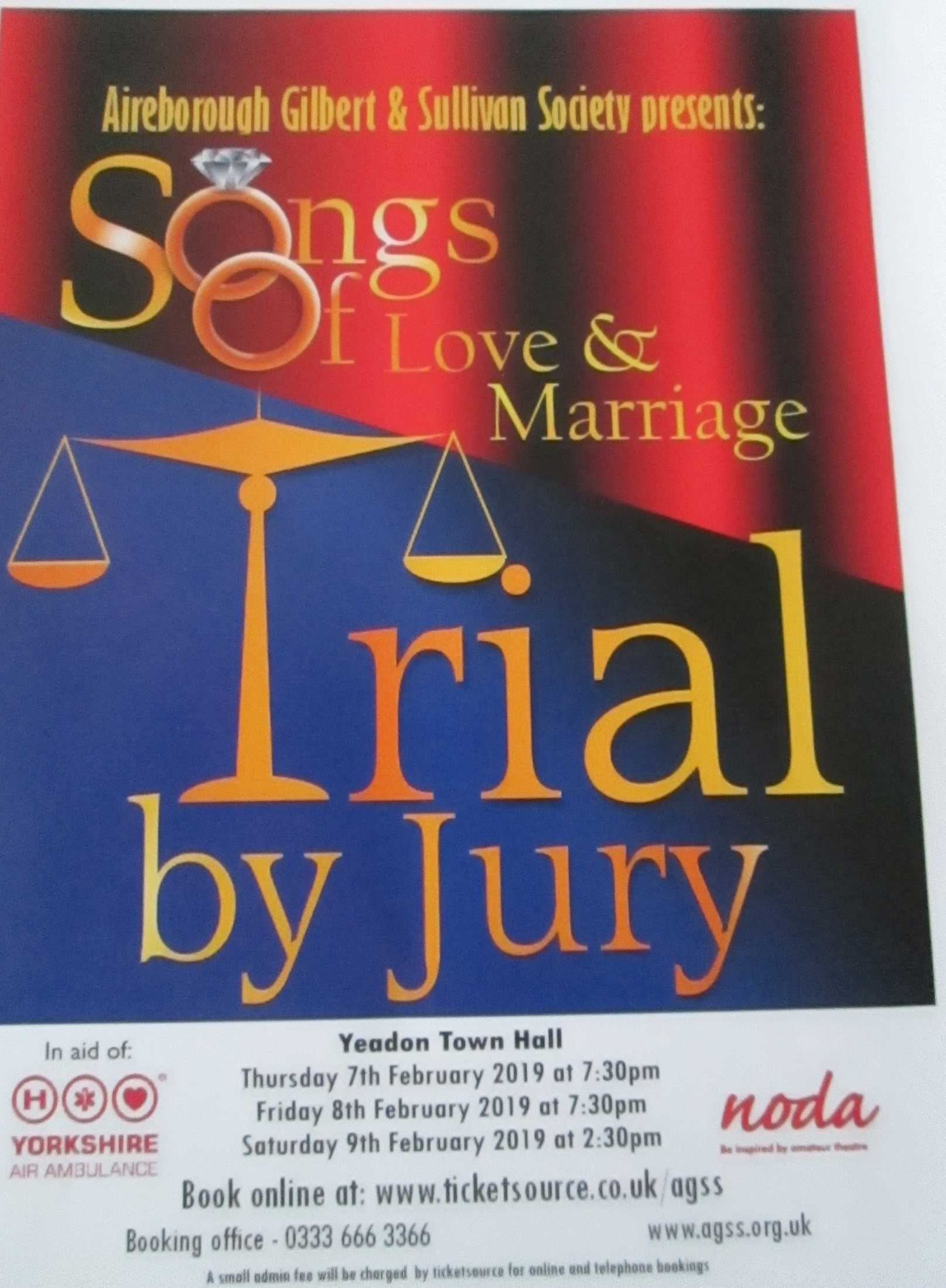Songs of Love and Marriage and Trial by Jury at Yeadon Town Hall
