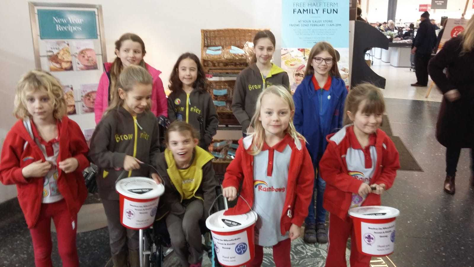 Some of the scouts and guides who took part in the bag pack in Booths Supermarket in Ilkley