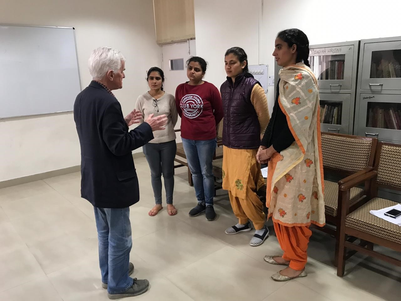 Playwright Neil Rathmell working on his new play with students at Punjabi University, Patiala, India