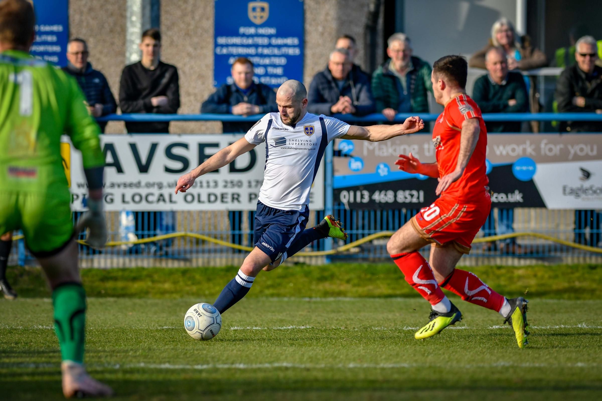 Will Hatfield went close in Guiseley's 2-0 defeat at Guiseley