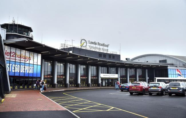 A man was arrested at Leeds Bradford Airport last night on suspicion of being drunk and aggressive on an aircraft
