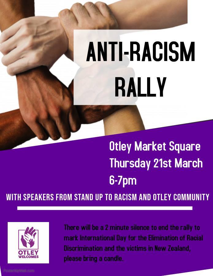 The poster for Otley's Anti-racism Rally