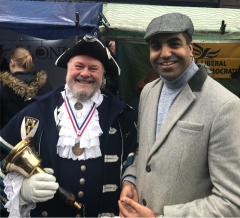 Parliamentary candidate Kamran Hussain with Otley Bellman Terry Ford at the 2018 Victorian Fayre