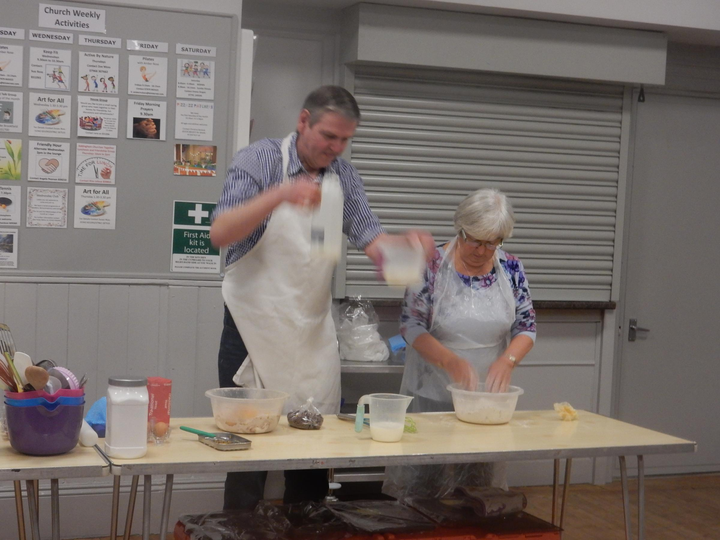 Master baker Mike Armstrong is pictured during his bread making demonstration at Addingham Wednesday Club