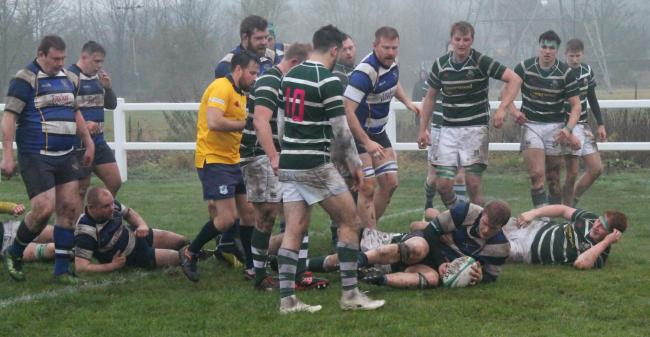 Yarnbury's George Bowen touches down for a try at Northallerton