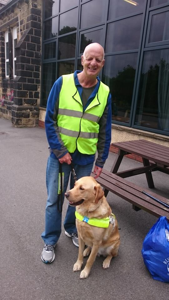 Guide dog owner Kevin is pictured with his dog Spencer. They will attend the fundraising event on Saturday, April 27 at Christchurch, Ilkley