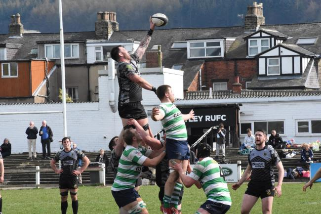 Simon Willet wins a line-out for Otley. Picture: Mike Pratt