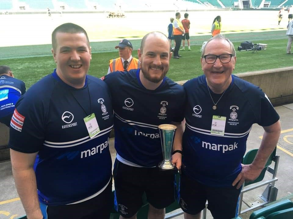 Kris Stafford, centre, has stepped as head coach at Old Otliensians, and he will be replaced by Harrison Marshall, left, and Stephen Quinn, right, will be his assistant. The trio, who won a coaching award, are pictured at the RFU Junior Vase final at Twic