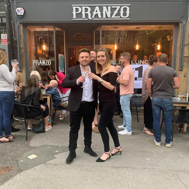 Marco Greco, owner of Pranzo and his wife Sophie celebrate