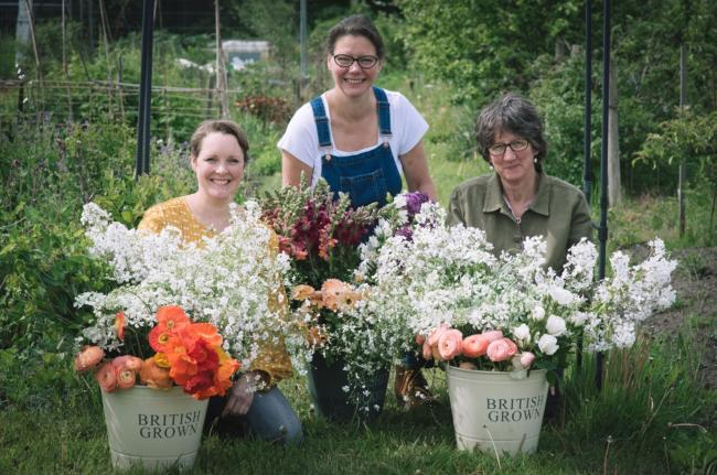 Jane Tucker, Susanne Loweth and Claire Clark with British-grown flowers. Photo by Tiffany Photography