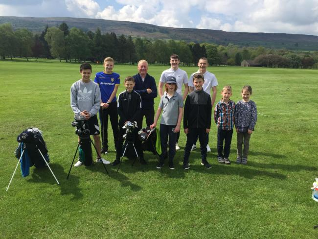 Youngsters from Ben Rhydding Golf Club, pictured with junior organiser Jamie Wright, enjoyed a coaching lesson for new juniors